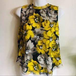 Black & Yellow Floral Print Top